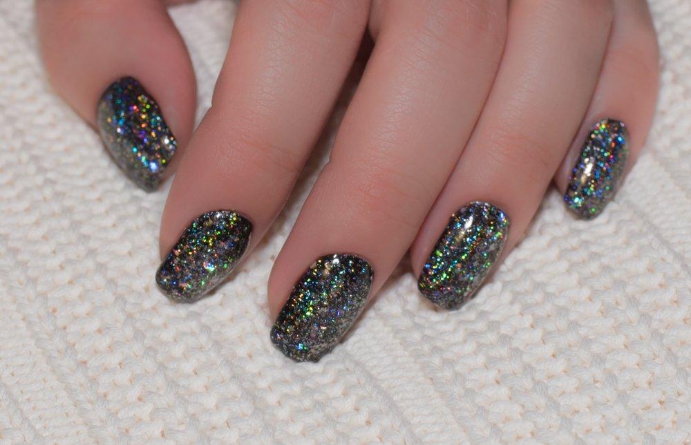 unhas postiças com glitter